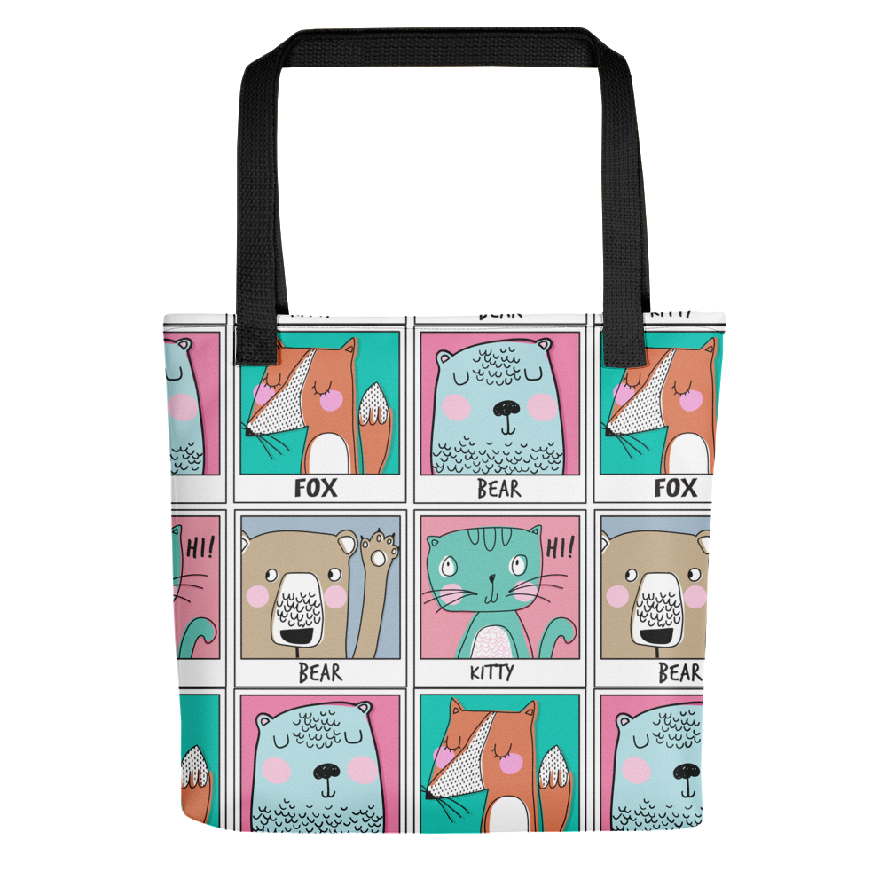 kitty pattern Tote bag - BlackKohco