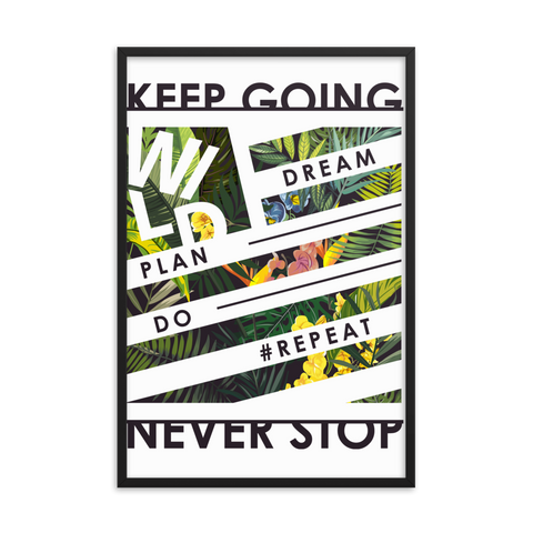 Slogan-with-tropical-leaf-and-flower-illustration Framed poster