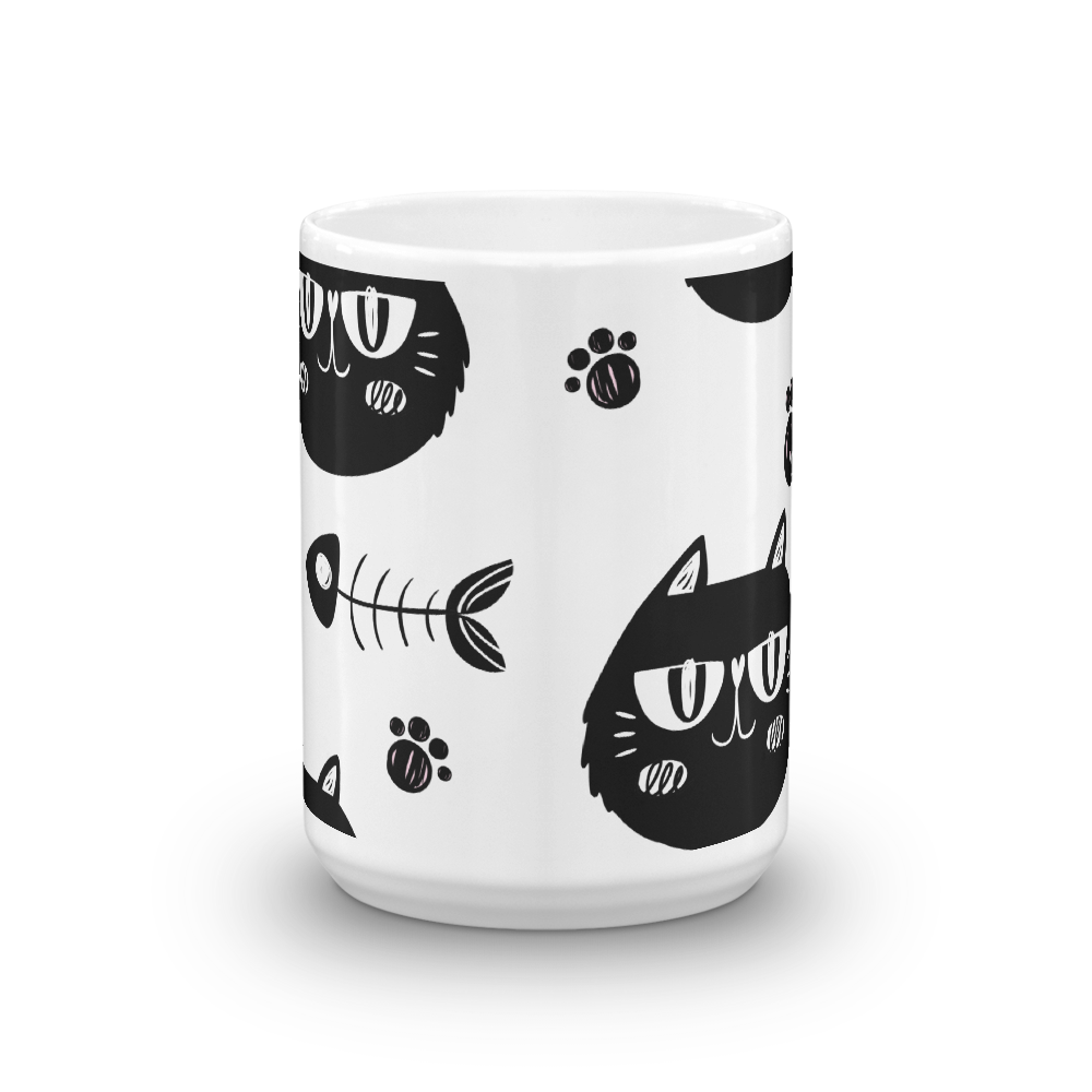 Cat And Bone Mug - BlackKohco