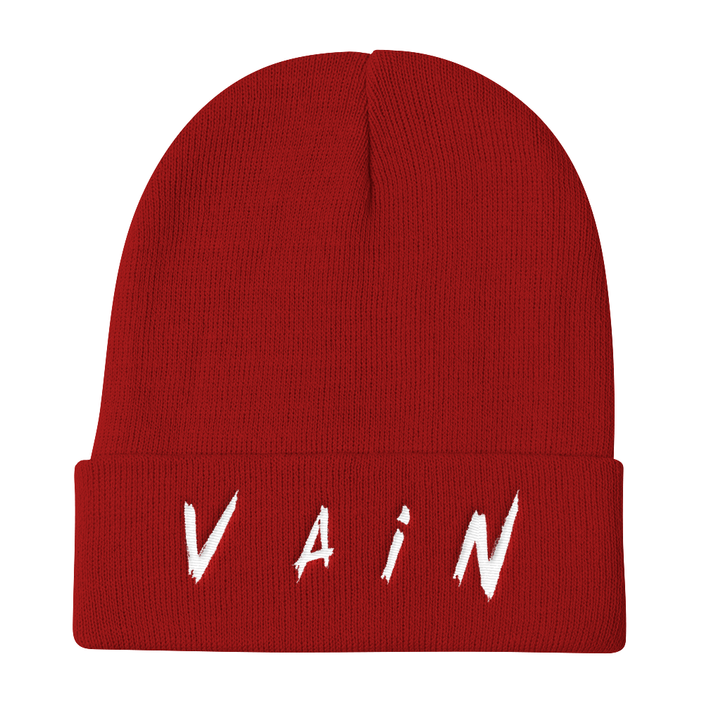 Vain Embroidered Beanie - BlackKohco