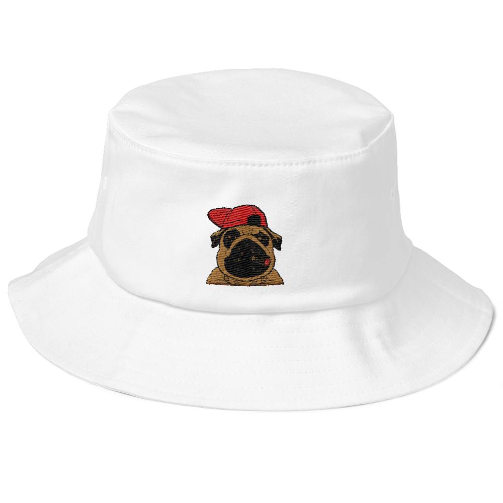 Bling Pug Old School Bucket Hat