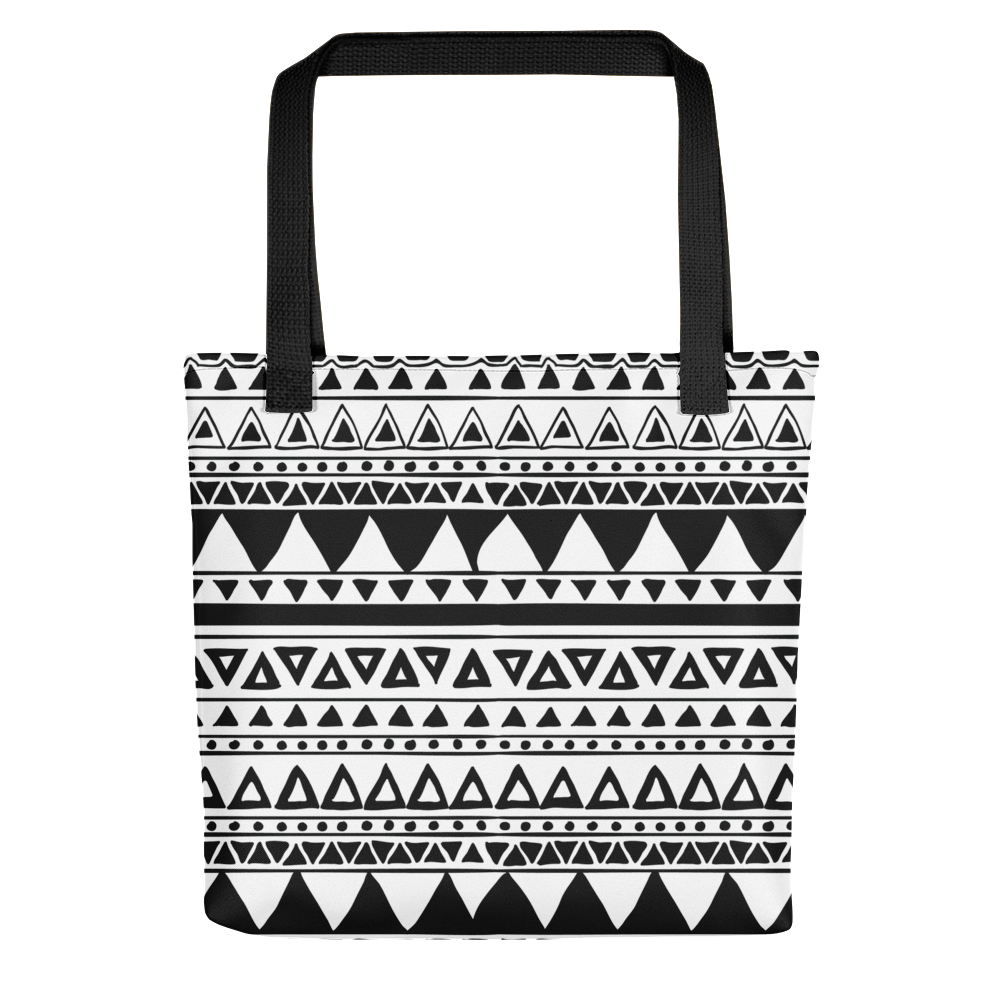 Black and white pattern triangles Tote bag - BlackKohco