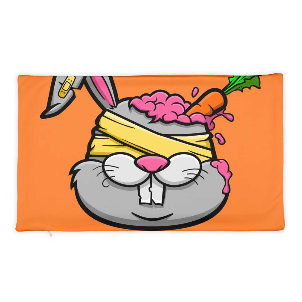 Zombie-Bunny-With-The-Carrot-in-His-Brain Basic Pillow Case only - BlackKohco