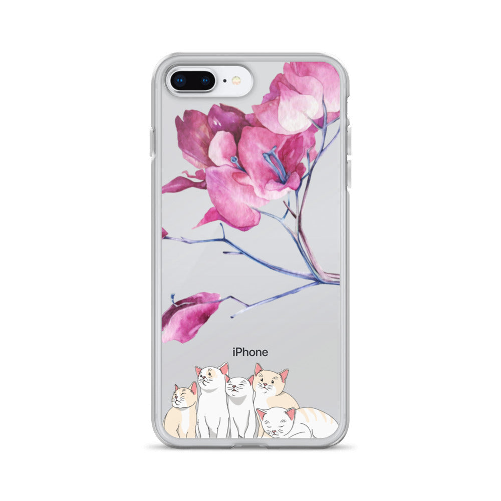 Cats And Blossom iPhone Case - BlackKohco