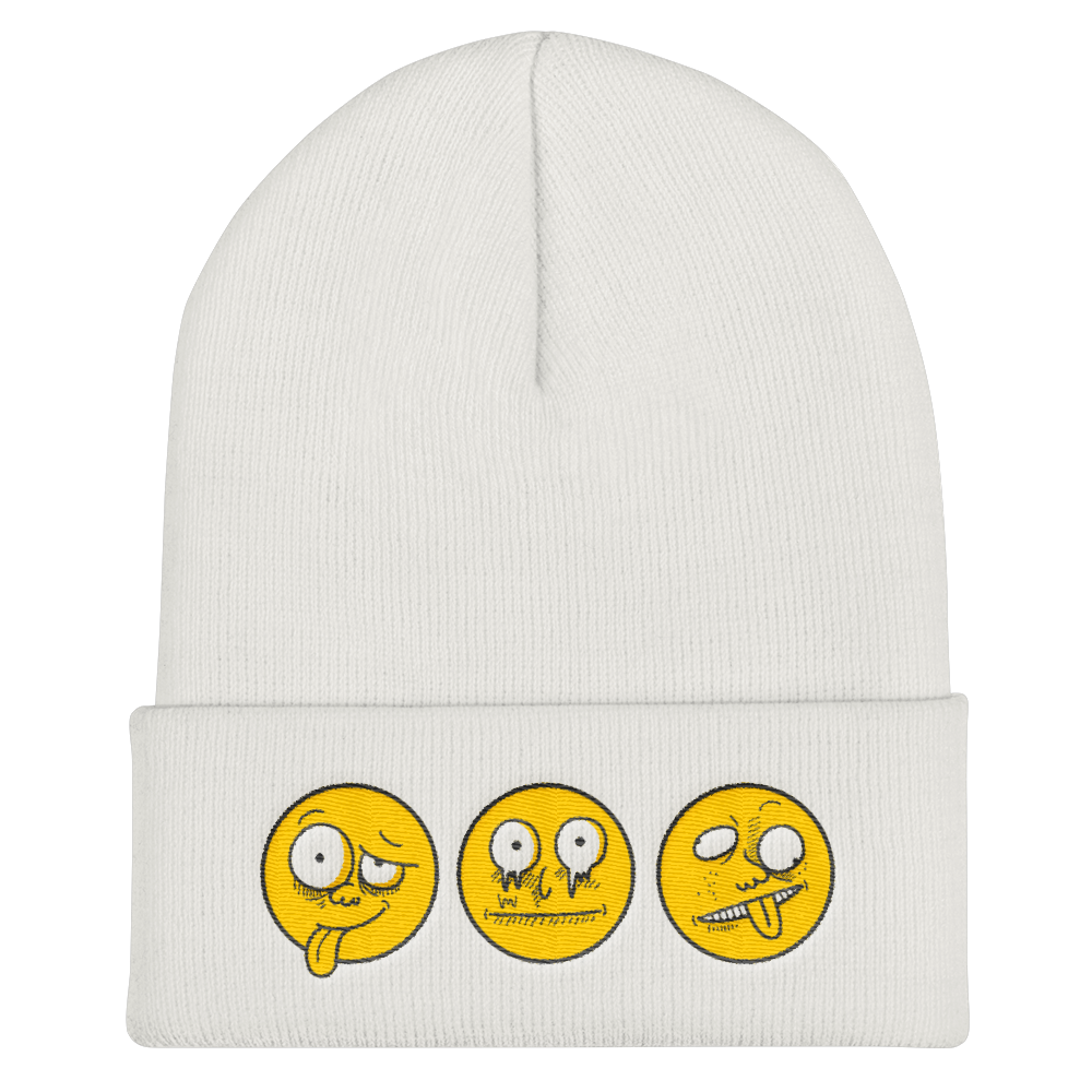 Being SIlly Faces Emoji's Cuffed Beanie - BlackKohco