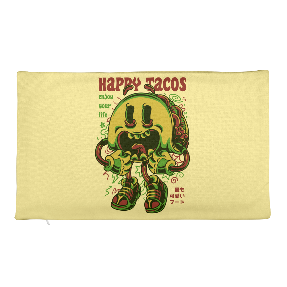 Happy Tacos Illustration Premium Pillow Case only