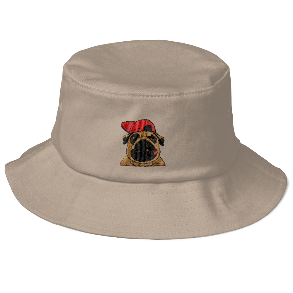 Bling Pug Old School Bucket Hat - BlackKohco