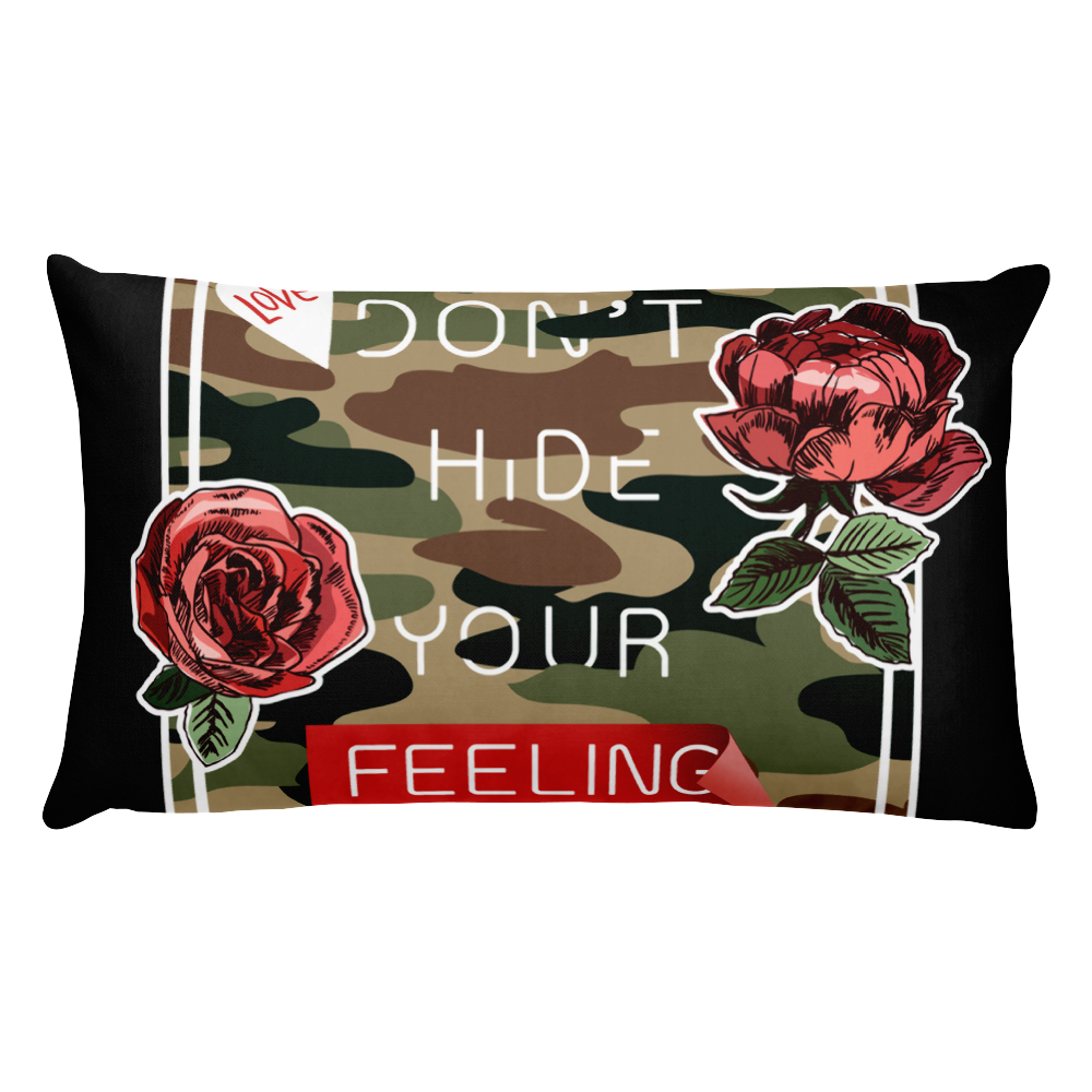 Slogan-on-camouflaged-background-with-roses-illustration Basic Pillow