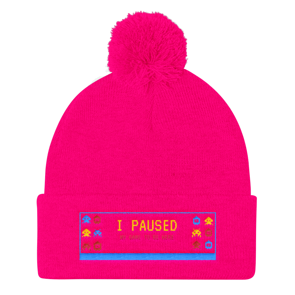 I paused My Game To Be Here Pom Pom Knit Cap - BlackKohco