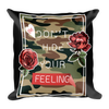 Slogan-on-camouflaged-background-with-roses-illustration Basic Pillow - BlackKohco