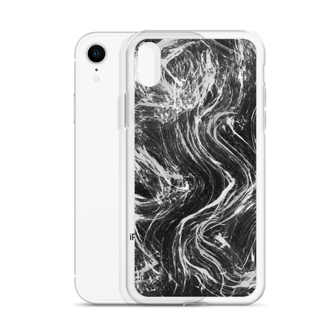 Black white ink waves iPhone Case