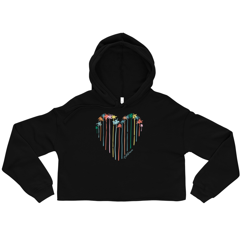 Heart-Shaped pattern set Crop Hoodie - BlackKohco