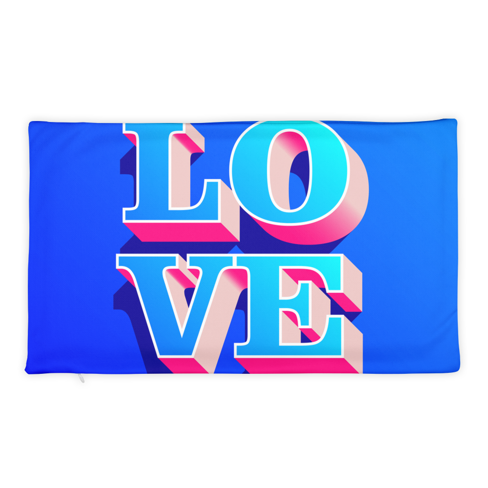 3d-pink-and-blue-love-text-for-valentine-theme Basic Pillow Case only - BlackKohco