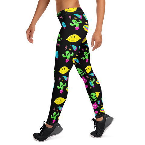 Peace Aliens Leggings - BlackKohco