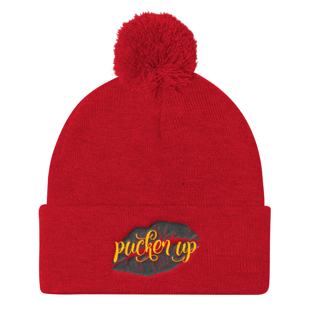 Pucker Up Beanie Hat Pom Pom Knit Cap - BlackKohco