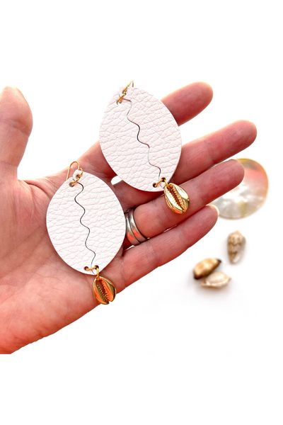 Cowrie shell earrings in white leather