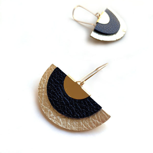 Fan statement earrings in navy leather by Two boss beads