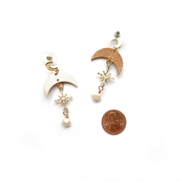 Leather moon earrings with CZ star by Two boss beads
