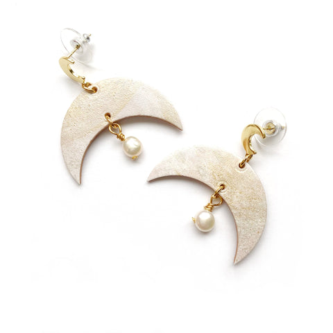 Leather moon earrings by Two boss beads