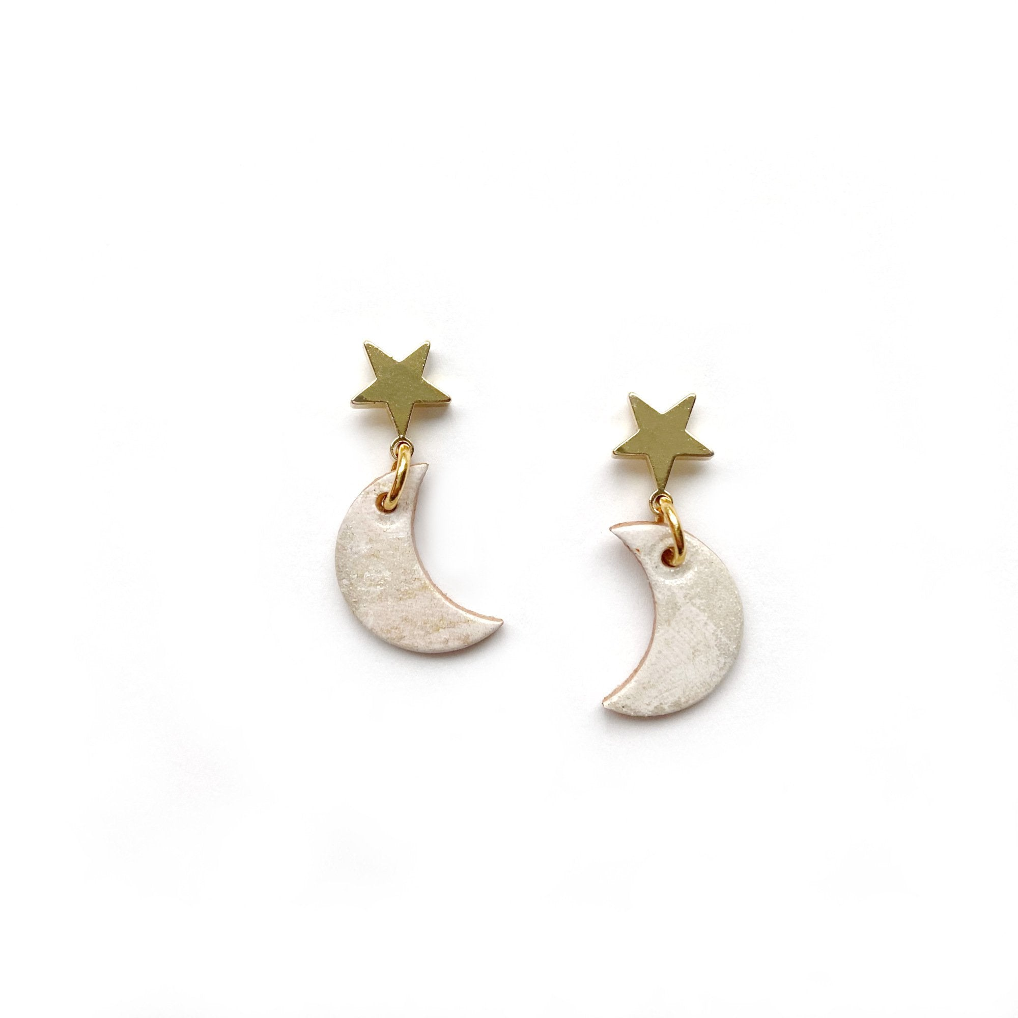 Small leather moon earrings by Two boss beads