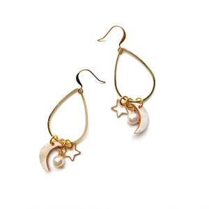 Gold teardrop earrings by Two boss beads