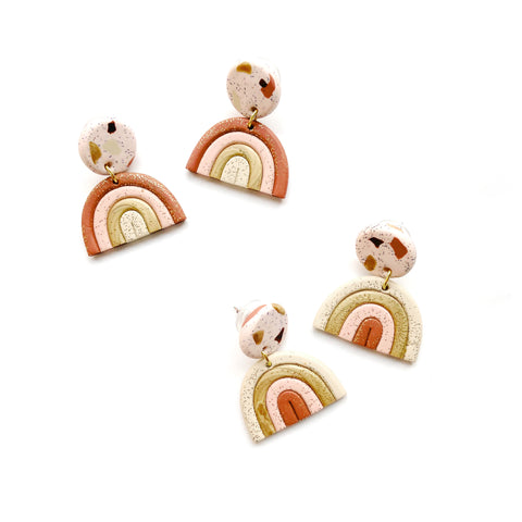 Terracotta rainbow earrings in polymer clay