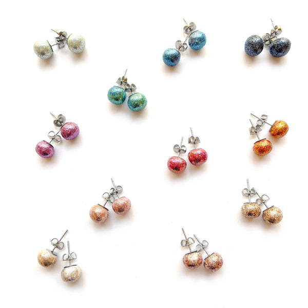 Sparkle stud earrings by Two boss beads