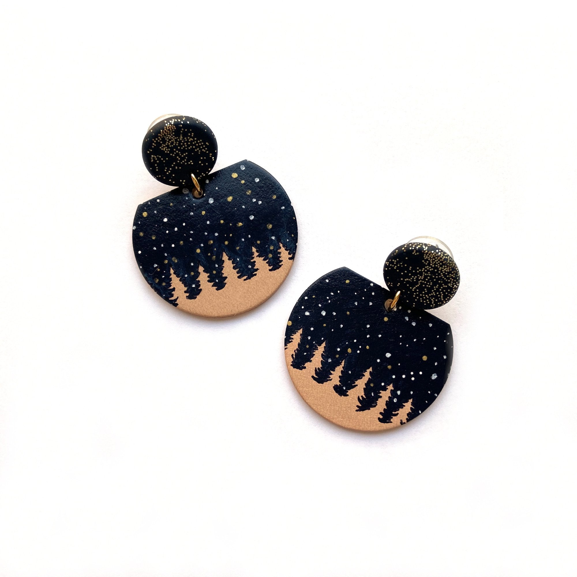 Statement leather earrings with night sky by Two boss beads