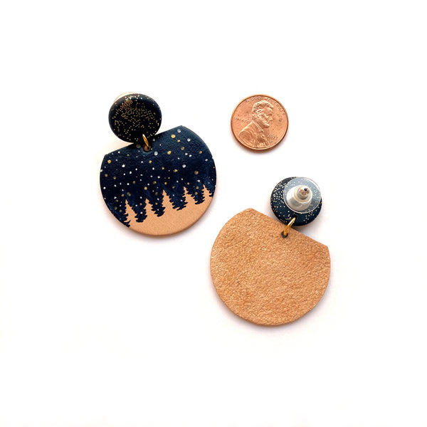 Leather earrings with night sky by Two boss beads