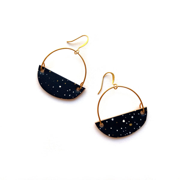 Gold hoop earrings with starry night sky by Two boss beads