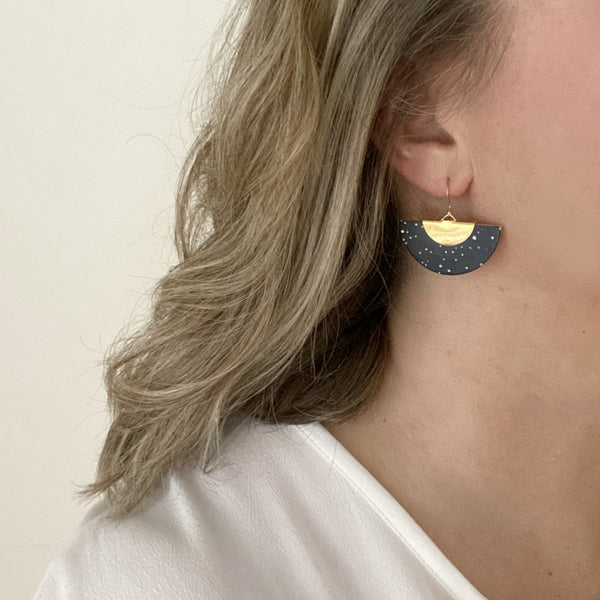 Galaxy earrings in hand painted leather by Two boss beads