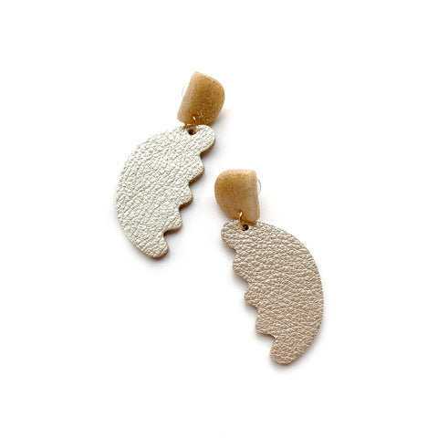 Abstract statement earrings in gold leather