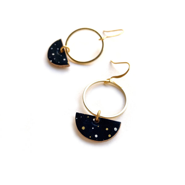 small dangle earrings with starry night sky by Two boss beads
