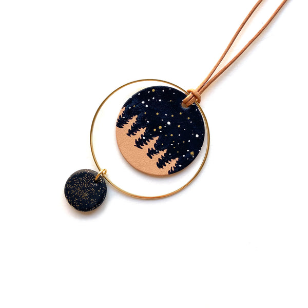 Starry Sky pendant on leather cord by Two boss beads