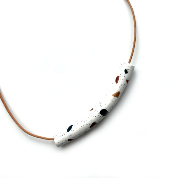Terrazzo bead necklace in polymer clay