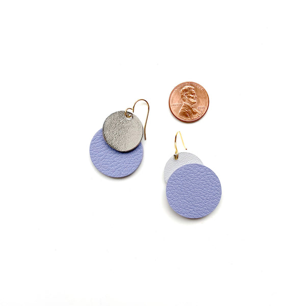 Small purple leather dangle earrings