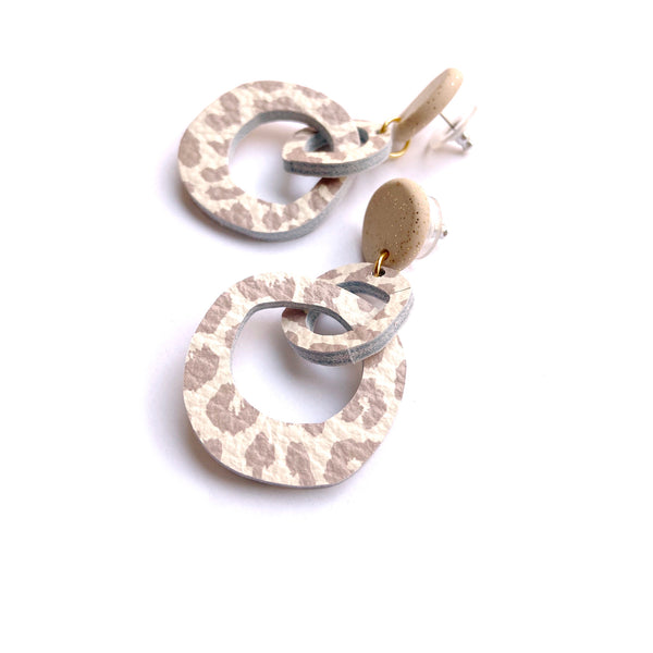 Abstract hoop double drop earrings in animal print leather