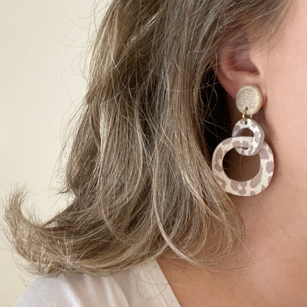 Abstract hoop drop earrings by Two boss beads
