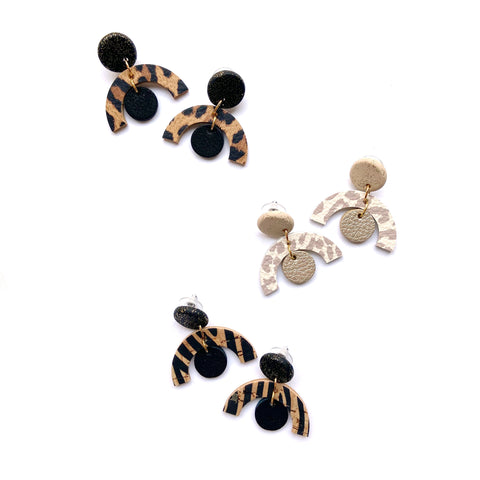 Leather arch earrings in animal print by Two boss beads