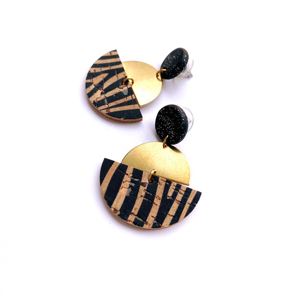 Geometric leather and brass earrings by Two boss beads