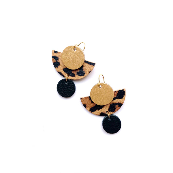 Geometric leather earrings in animal print by Two boss beads