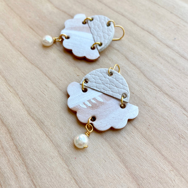White cloud earrings by Two boss beads