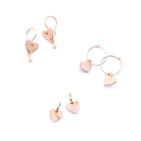Small heart earrings by Two boss beads