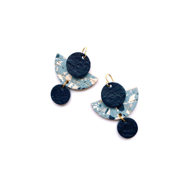 Geometric navy terrazzo earrings by Two boss beads