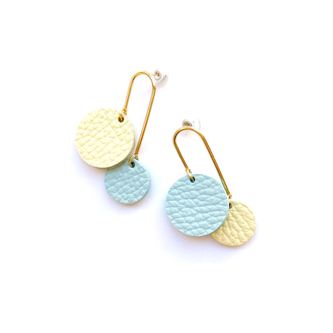 Gold dangles earrings in blue by Two boss beads
