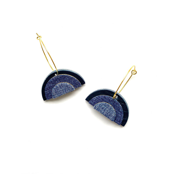 Blue rainbow hoop earrings in denim and leather by Two boss beads