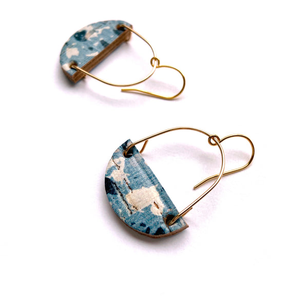 Gold hoops earrings with terrazzo leather crescent by Two boss beads