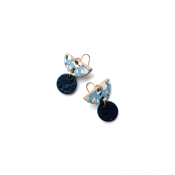 Small blue dangle earrings in terrazzo leather by Two boss beads