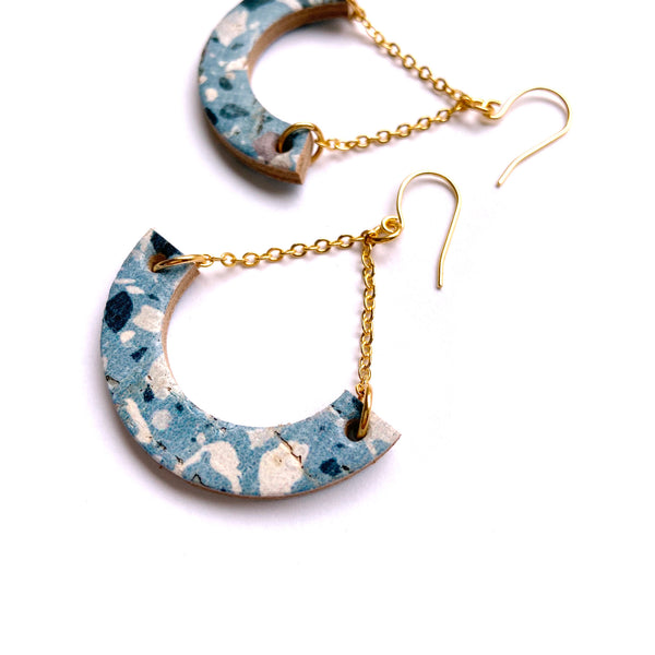 Geometric terrazzo dangle earrings by Two boss beads