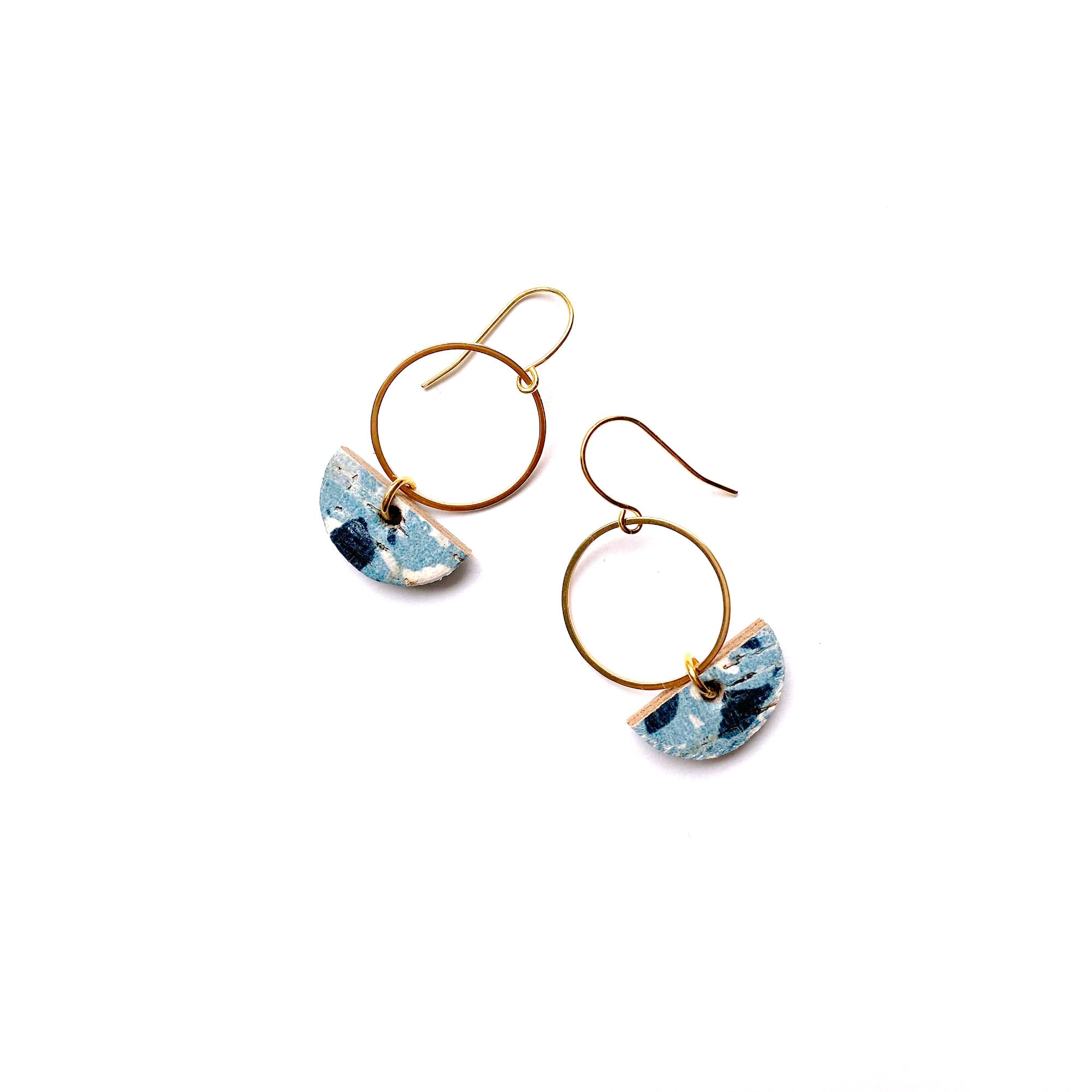 Small terrazzo dangle earrings in blue by Two boss beads